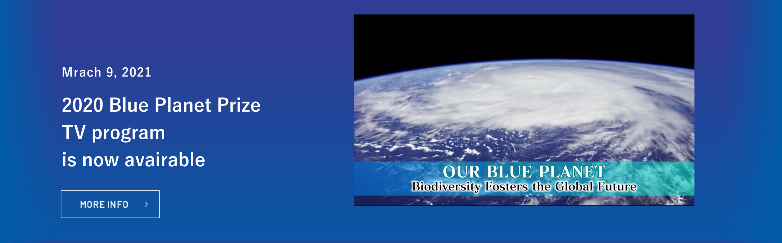TV program, Our Blue Planet, featuring 2020 Blue Planet Prize winners, is now available on our website