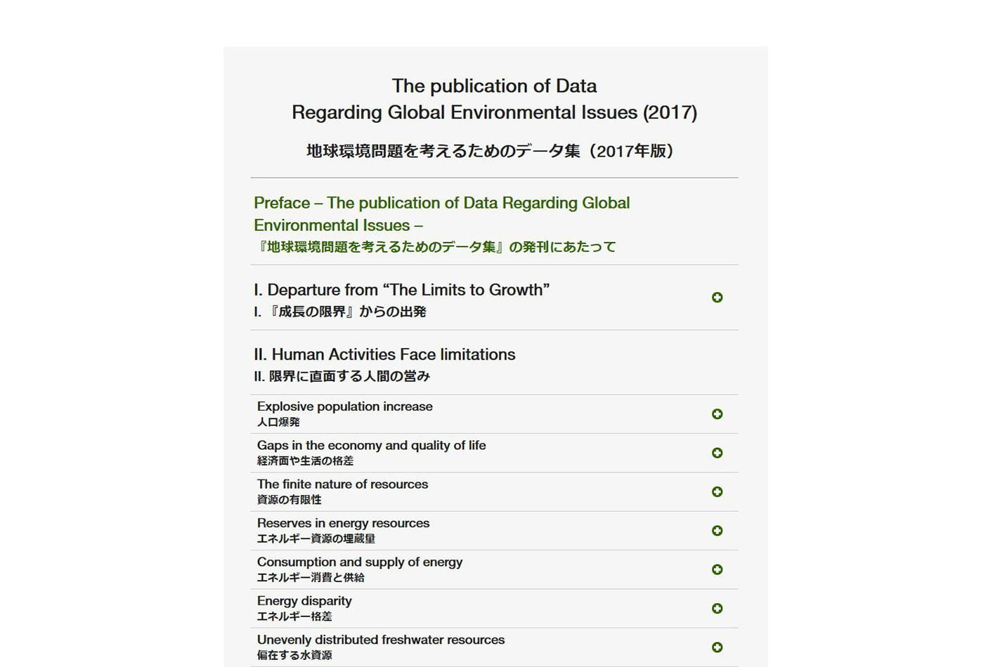 The publication of Data Regarding Global Environmental Issues (2017)